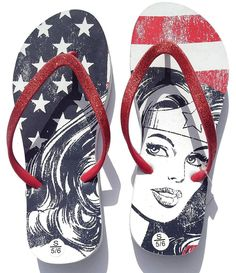 21c919c30ec9f3 DC Comics Wonder Woman Stars  amp  Stripes Flip Flop Thong Sandals (X-Large