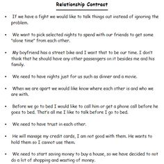 Relationship Contract Google Search Awesome Relationship