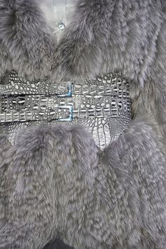Christian Siriano grey fur
