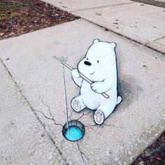 "Sidewalk Fishing!!!! Incredible Chalk Anamorphic  Street  Art ... Polar Bears credit to @davidzinn: ""Not everyone's sorry that the winter heat wave is over. ....... #evergreenartsupply #fishing #pavement #polarbears #artistoftheday #artiseverywhere #streetart #talented #ice #fish #icehole"