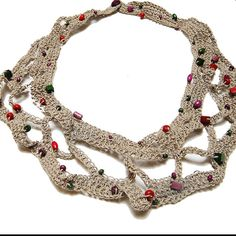 Jewlery Linen Necklace Crochet Necklace  Eco Frendly  by Danfe, $35.00