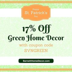 Happy St Patrick's Day!  Save 17% on regular priced green home decor with coupon code. See our blog for details and selection #coupon #deals #sale #stpatricks #green #homedecor