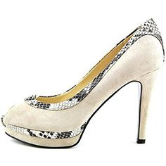 Marc Fisher Women's Monaye 2 Peep-Toe Heels, Tan, Size 8.5 -- Awesome products selected by Anna Churchill