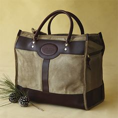 Waxed-Cotton-and-Leather Tote Bag