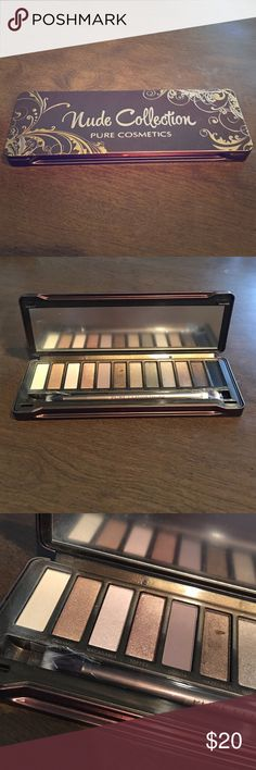 Naked palette dupe Nude Collection Pure Cosmetics Pure cosmetics nude collection eyeshadow palette. I only used the white color (as pictured) and the gold has a divot in it (as pictured) otherwise brand new (brush still in packaging and protective shield is still over the mirror) offers welcome. See my bundle listing with the nail treatment. Perfect dupe for the Naked Palette Makeup Eyeshadow