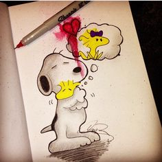 Peanuts Characters, Snoopy and Woodstock - A pencil, ink, marker, and watercolor drawing.