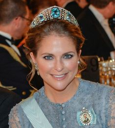 A close up of Princess Madeleine wearing the aquamarine tiara; Nobel ceremonies, 2015