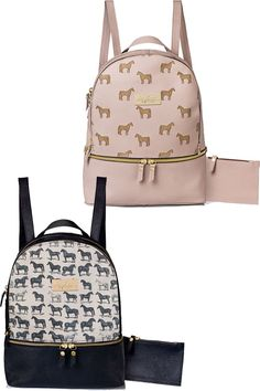 Black and pink horse print backpacks.