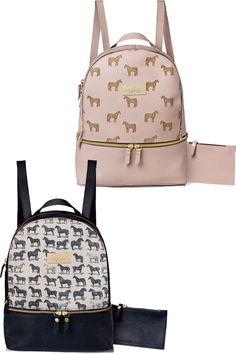 Black and pink horse print backpacks.