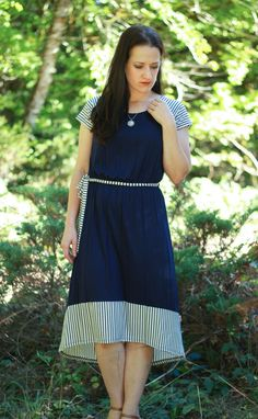 We love the stripes on this dress! This is sure to be one of your favorites - it is super comfy and flows well. Great for any day of the week!