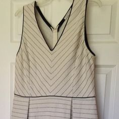 41 Hawthorn Larae V-Neck Knit Stitch Fix Dress Xl - Black and Off White Chevron dress with faux leather piping 41Hawthorn Dresses