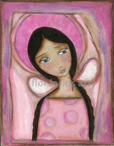 Pink Angel    Print from Painting by FLOR LARIOS 6 x by FlorLarios, $15.00