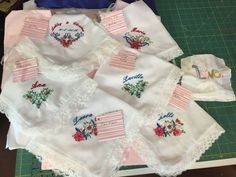 Mens handkerchiefs with lace and embroidery