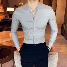 Casual slim long sleeve shirt for men. Buy in our catalog online store The-Casual. Also available in other colors: black, white, gray. Black Tuxedo Shirt, Black Shirt Outfit Men, Men Shirt, Mens Floral Dress Shirts, Formal Men Outfit, Formal Outfits, Formal Dress, Trendy Outfits, Mens Printed Shirts