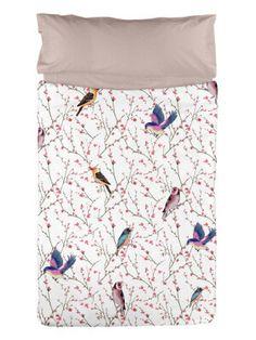 Juego de funda nórdica + 1 o 2 fundas de almohada Birds blanco  Varias medidas disponibles