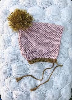 Hand knit bonnet baby girl eco dye mustard pink pom pom pixie I am... leesie handknits