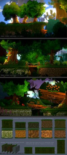 """2D Forest Pack with 9-slicing sprites Textures & Materials  This sprite pack includes over 500 high quality sprites in PNG, 360 blurred versions of sprites, 230 prefabs and 34 particles prefabs.  Sprites and prefabs with a prefix """"9-slicing"""" in the name are already set up to work with the 9-slicing technique, which will allow you to easily and quickly create different 2d terrain options and trees with different trunk sizes or even more."""