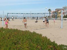 Mission Beach, San Diego, CA.  Extremely wide beach.  great for volley ball nets and tournaments.