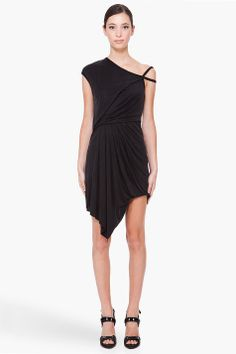 Helmut Lang Black Shale Draped Dress by SSense