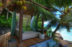 Seychelles beach bed SO GORGEOUS!!! If I lived at this place guess what my bed would look like <3