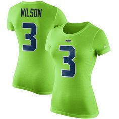 Women's Seattle Seahawks Russell Wilson Nike Green Player Pride Color Rush Name & Number T-Shirt $31.99 (NFL store)