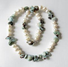 Perlenketten - Larimar-Zuchtperlen-Kette Collier - ein Designerstück von…