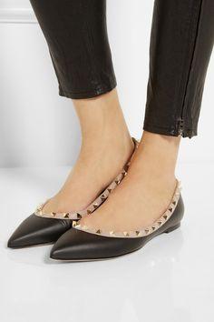 Valentino|Rockstud leather point-toe flats|NET-A-PORTER.COM