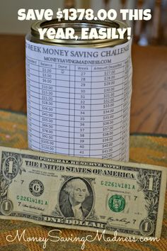 52 Week Money Saving Challenge   Save Cash this Year! {Free Printable} on http://www.moneysavingmadness.com