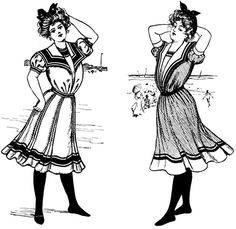 RIGHT: An association of contrasting colors is suggested in this style bathing suit. The pattern included a shirt-blouse and knickerbockers in one, and a straight, full skirt. The blouse had a vest shield and offered a choice of a deep sailor or plain or scalloped shawl collar. The bathing suit could also be made with a high or open neck and full, three-quarter or puff sleeves. LEFT: The feature of this bathing costume is the shield in the blouse. The collar is the deep sailor style and the…