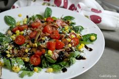 salata me spanaki bacon manitaria Salad Bar, Cobb Salad, Greek Cooking, Kung Pao Chicken, Feta, Bacon, Salads, Vegetarian, Ethnic Recipes