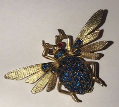 Vintage Coro Signed Bee Dragonfly Insect Bug Pin / Brooch Blue & Red Rhinestones #Coro