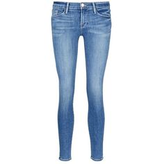 Frame Denim 'Le Skinny De Jeanne' cropped jeans ($220) ❤ liked on Polyvore featuring jeans, blue, frayed jeans, 5 pocket jeans, super stretch jeans, cropped jeans and skinny leg jeans