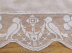 Only $95 VERY FINE Batiste Figural Dog & Birds Embroidered Bedspread & Sham ANTIQUE c1900 www.Vintageblessings.com