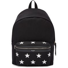 Saint Laurent Black Canvas Stars Backpack (4,155 SAR) ❤ liked on Polyvore featuring men's fashion, men's bags, men's backpacks, black and mens canvas backpack
