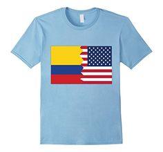 Men's Colombian American Half Colombia America Flag T-Shi…