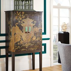 Peking Handpainted Chinoiserie TV Cabinet - Black