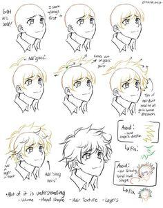 Drawing Tips Manga Drawings - Sketch Manga Tutorial, Manga Drawing Tutorials, Art Tutorials, Drawing Lessons, Drawing Techniques, Drawing Tips, Boy Hair Drawing, Anime Hair Drawing, Hair Styles Drawing