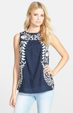 Lucky Brand Embroidered Shell available at #Nordstrom
