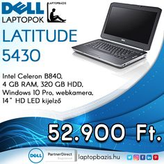"Dell Latitude E5430 laptop, Intel Celeron B840, 4 GB RAM, 320 GB HDD, Windows 10 Pro, webkamera, 14"" HD LED kijelző Ár: 52 900.- Ft"