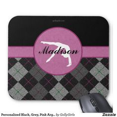 """Personalized Black, Grey, Pink Argyle Gymnastics Mouse Pad - Classy gymnastics mousepad with a beautiful black, grey, and pink argyle backdrop. It has a gymnast silhouette inside of a pink circle. Add your own name before ordering! Additionally, use the """"customize it"""" button for more options, including a different font!  ©gollygirls.com"""
