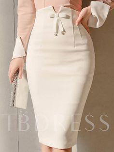 Bodycon Bowknot Zipper High Waist Women's Skirts - moda Mode Outfits, Skirt Outfits, Dressy Outfits, Jw Mode, Work Attire, Mode Inspiration, Design Inspiration, Mode Style, African Fashion