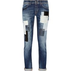 Just Cavalli blue jeans.  Mid-weight denim.  Belt loops, five pockets, patchwork appliqués.  Button and concealed zip fastening at front.  98% cotton, 2% elast…