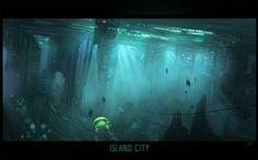 Island City by ~Hideyoshi  Digital Art / Paintings & Airbrushing / Sci-Fi