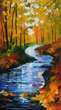 AUTUMN STREAM  LEONID AFREMOV