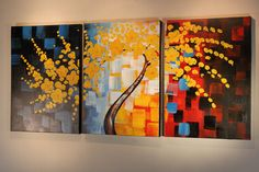 Yellow Blossoming Tree in triptych canvas wall art format!