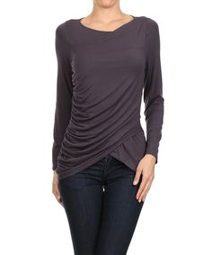 Look at this Gray Cross-Front Drape Top on #zulily today!