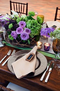 Miniature chalk boards double as place cards- such a fabulous idea for an outdoor rustic wedding reception.