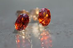 Vintage 14k Yellow Gold and Bright Golden Orange Citrine Pierced Stud Earrings