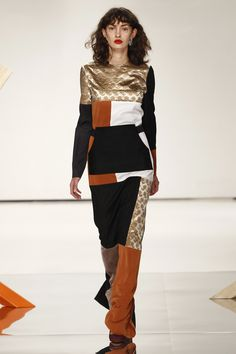Retro Long Dress with Square Geometric Colors of Black,Gold, Burnt Orange and Beige - Louise Friedlaender Berlin Fall 2016 Fashion Show