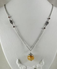 Acorn Necklace with Antique Silver Leaves